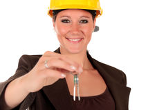 Smiling female building contractor Royalty Free Stock Photography