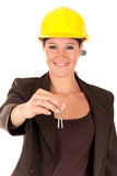 Smiling female building contractor Stock Images
