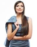 Smiling female business model studio posing. Stock Images