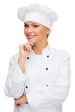Smiling female chef dreaming Royalty Free Stock Photography
