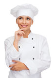 Smiling female chef dreaming Stock Image