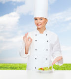 Smiling female chef with salad on plate Royalty Free Stock Photos