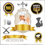 Smiling Female Chef Showing Ok Sign. Badge, Vintage, Frame, Silhouette Stock Photos