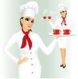 Smiling female chef with two cups of tea Royalty Free Stock Photography