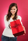 Smiling female with christmas gift Stock Photos