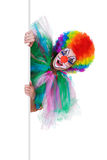 Smiling female clown posing behind a blank panel Royalty Free Stock Image