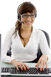 Smiling female customer care executive Stock Photography