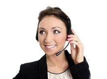 Smiling female customer support Royalty Free Stock Images