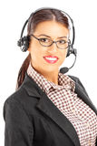 Smiling female customer support with headphones and microphone Stock Photography
