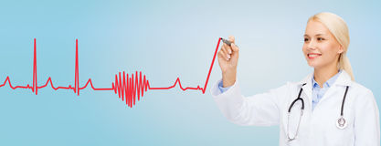 Smiling female doctor drawing heartbeat cardiogram stock image