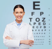 Smiling female doctor with eye chart Royalty Free Stock Photo