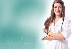 Smiling female doctor with heartbeat frequency Stock Photo
