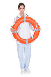 Smiling Female Doctor Holding Inflatable Ring Royalty Free Stock Photo