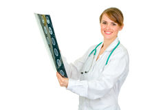 Smiling female doctor holding roentgen Royalty Free Stock Images