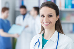 Smiling female doctor stock image