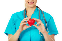 Smiling female doctor with stethoscope holding heart model Royalty Free Stock Images