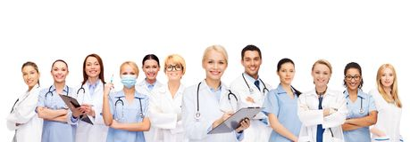 Free Smiling Female Doctors And Nurses With Stethoscope Stock Photography - 43087882