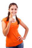 Smiling  female drinking milk Stock Photo