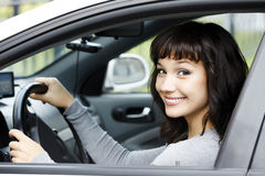 Smiling female driver Royalty Free Stock Images