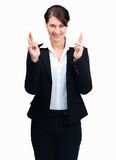 Smiling female entrepreneur with finge Royalty Free Stock Images