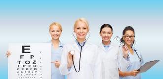 Smiling female eye doctors and nurses Royalty Free Stock Photo