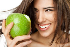 Smiling female face apple Stock Photo