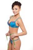 Smiling female fashion model in blue lingerie Stock Image