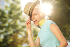Smiling female fashion model with hat Royalty Free Stock Photo