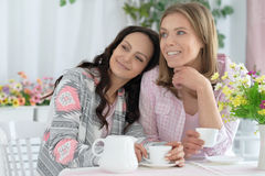Smiling female friends drinking coffee Stock Image