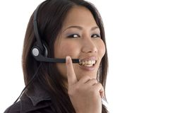 Smiling female with headphone Royalty Free Stock Photography
