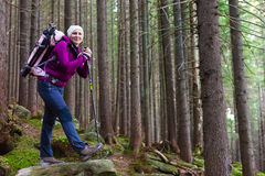 Smiling Female Hiker Staying in Deep Old Forest Stock Photography