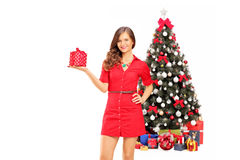 Smiling female holding a gift and posing in front of a christmas Stock Photography