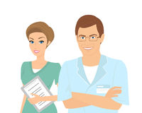 Smiling female and male dentists isolated on white Royalty Free Stock Images