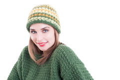 Smiling female model wearing winter fashion clothing Stock Photography