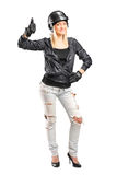 Smiling female motorcycler Royalty Free Stock Photography