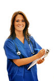 Smiling Female Nurse with Stethoscope. And clipboard isolated on white background with copy space Stock Images