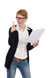 Smiling female office worker with documents. Royalty Free Stock Images