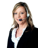Smiling female operator. Close up shot Royalty Free Stock Photos