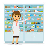 Smiling female pharmacist. In pharmacy opposite shelves with medicines. Vector illustration Royalty Free Stock Photography