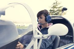 Pilot in the aircraft cockpit Royalty Free Stock Images