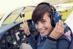 Pilot in the aircraft cockpit Stock Image