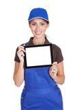 Smiling Female Plumber Holding Digital Tablet Stock Photos