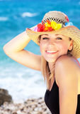 Smiling female portrait on the beach Stock Photography