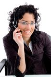 Smiling female posing with headphone Royalty Free Stock Photography