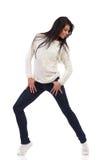 Smiling female posing with legs apart. stock photos