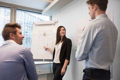 Smiling Female Professional Explaining Chart To Colleagues royalty free stock photos