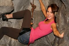 Smiling female rock climber Royalty Free Stock Images