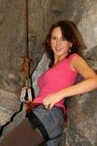 Smiling female rock climber Stock Photos