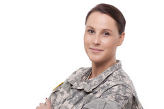 Smiling female soldier Stock Photos