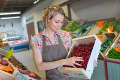Smiling female staff holding box cherries in supermarket Royalty Free Stock Images